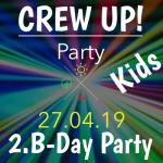Werbebild für die 2. Geburtstagsparty von CREW für Kinder am 27.4.19