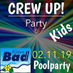 Werbebild für die Pool-Party von CREW für Kinder am 2.11.19