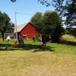 Jugendliche spielen Fußball auf einer Wiese.