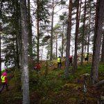 Junge Menschen gehen durch einen Wald.