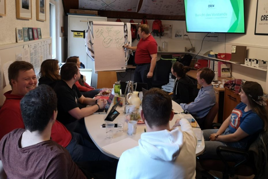 Gruppe von jungen Menschen sitzt um einen Tisch und folgen einem Vortrag