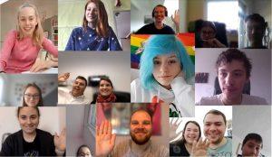 Kollage von Bildern von jungen Menschen vor ihrer Webcam