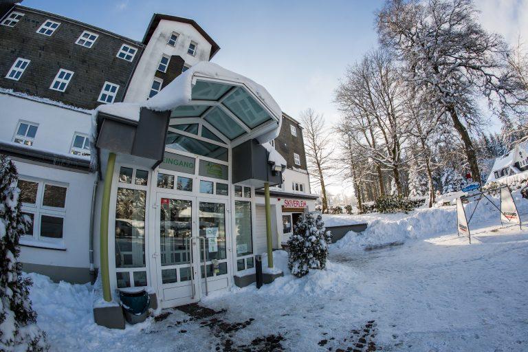 Hostel winter main entrance