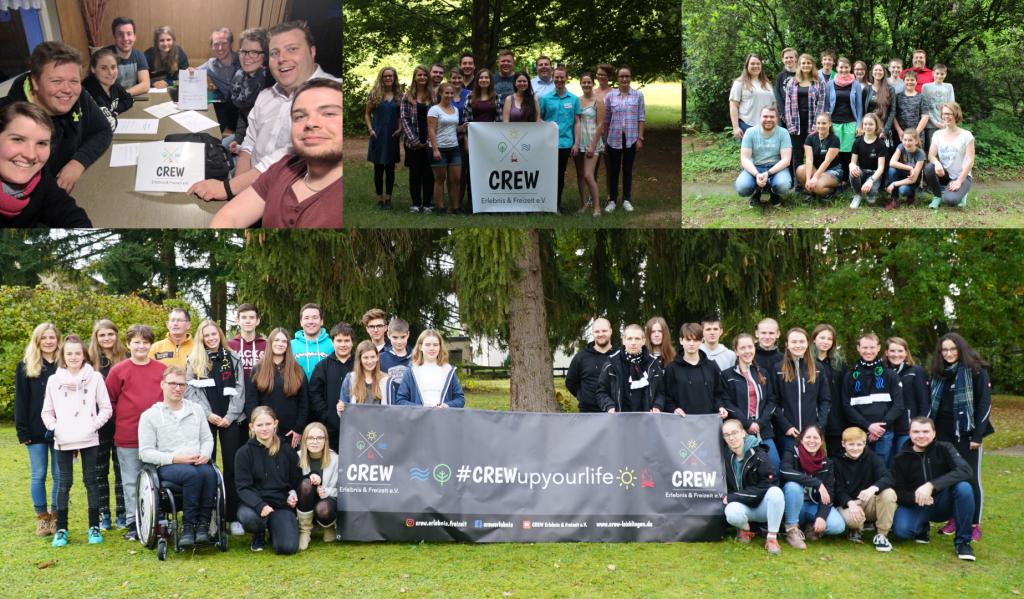 Mehrere Gruppenbilder von CREW